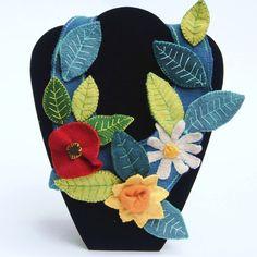 felted wild flower neckpiece