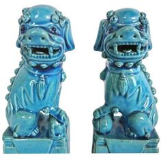 Vintage 1960s Turquoise Blue Ceramic Foo Dogs - A Pair ($289) ❤ liked on Polyvore featuring home, home decor, figurines, turquoise home decor, ceramic figurines, foo dog figurines, ceramic home decor and turquoise home accessories