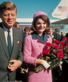 """Jackie Kennedy in the pink """"Chanel"""" suit dress in 1961. Google-Ergebnis für http://i.dailymail.co.uk/i/pix/2012/03/30/article-2122906-12679220000005DC-552_634x769.jpg"""