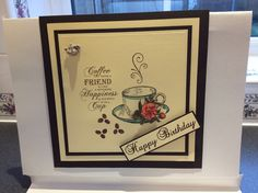 MY OWN WORK: This is using Cream and Black Card to Mat and Layer The Stamp is from JustRite, the Stamp is a deep edged red rubber stamp for clear stamping, it's got The Coffee Cup a Fabulous Sentiment and The Coffee Beans all cut individually so they can be used on there own.