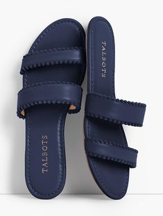 Shop Talbots for modern classic women's styles. You'll be a standout in our Sadie Pom-Pom Slide Sandals - only at Talbots! Leather Slippers, Leather Loafers, Leather Sandals, Shoes Flats Sandals, Slipper Sandals, Flat Sandals, Sock Shoes, Cute Shoes, Shoe Boots