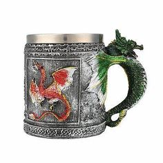 Stainless Steel Gragon Designed Bottle Coffee Mug Kitchenware Mug Drinking Tools Dragon Glass, Stainless Steel Cups, Dragon Design, Coffee Mugs, Tableware, Kitchenware, It Cast, Hand Painted, Cold