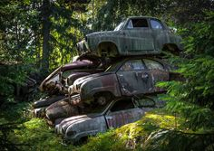 The car graveyard is in the mining country of Bastnas, a town in southern Sweden.