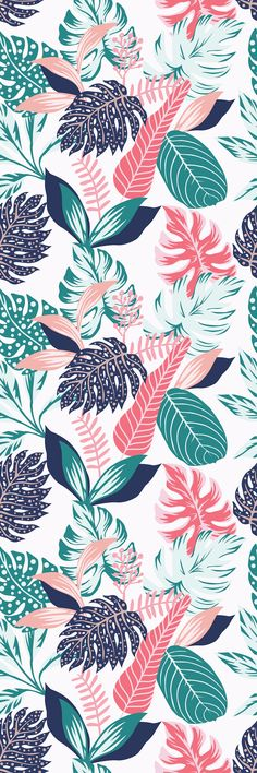 Removable Wallpaper Mural Peel & Stick Self Adhesive Wallpaper Painted Tropical Exotic Leaves Abstract Colors in a Cartoon Style Flower Phone Wallpaper, Iphone Background Wallpaper, Aesthetic Iphone Wallpaper, Galaxy Wallpaper, Aesthetic Wallpapers, Cute Patterns Wallpaper, Colorful Wallpaper, Beautiful Wallpaper, Mint Green Wallpaper