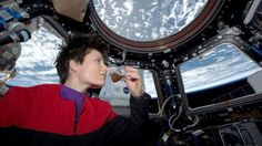 PHOTO: In this photo posted on Twitter, May 3, 2015, and provided by NASA, Italian astronaut Samantha Cristoforetti sips espresso from a cup designed for use in zero-gravity, on the International Space Station.