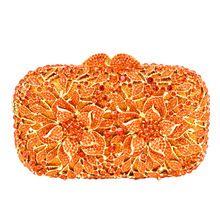 newest Orange Crystal Clutch Bag Flower Female Evening Bag Diamond Studded  Handbags Women Wedding Bridal Party Prom Purse ebe8daffec59