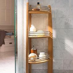 This beautiful and functional Teak Corner Shelf Caddy is an elegant addition to your spa-inspired bath. Made from sustainably harvested teak, this caddy will hold all your bath essentials. Teak Bathroom, Bathroom Ideas, Master Bathroom, Bath Ideas, Bathroom Remodeling, Pool Bathroom, Shiplap Bathroom, Master Shower, Bathroom Stuff