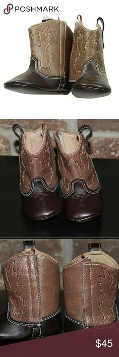 BABY COWBOY BOOTS Yes! Baby can have cowboys boots. Why not? Comfortable, soft and as cute as can be! They zip up the side to get them on the little baby feet with ease. Shoes