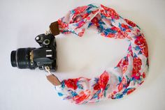DSLR Camera Strap  Orange and Green Floral Scarf by ImaniStudio
