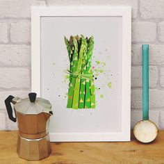 Asparagus Vegetable Kitchen Print by Paper Plane, the perfect gift for Explore more unique gifts in our curated marketplace. Kitchen Art Prints, Kitchen Wall Art, Logo Fruit, Ikea, Vegetable Prints, Plane Design, Statement Wall, Gifts For Cooks, Stylish Kitchen