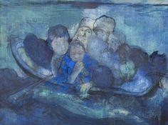 Mare Monstrum: Les peintures poignantes du périple des migrants par une artiste grecque|Georges Ranunkel Samos, Art Station, Traditional Art, Painting, Artist, Art Production, Painting Art, Paintings, Painted Canvas