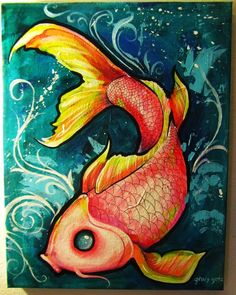 Koi Fish by Koi Art, Fish Art, Painting Inspiration, Art Inspo, Koi Kunst, Kunst Inspo, Carpe Koi, Fish Drawings, Art Pictures