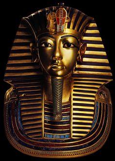Death Mask of the Pharaoh Tutankhamun. New Kingdom, 18th Dynasty, c. 1323 B.C.E., gold with inlay of enamel and semiprecious stones. Photo by A.M. v. Sarosdy