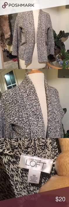 Salt & Pepper Grey Cardigan - Ann Taylor LOFT Cozy speckled gray cardigan by Ann Taylor LOFT. Size XS. Fits like a shawl, the arms are slightly loose and it looks like a poncho. Very cute! LOFT Sweaters Cardigans