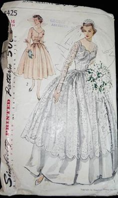 wedding dress vintage pattern- Looks very much like my mother's wedding dress-- that she sewed herself.