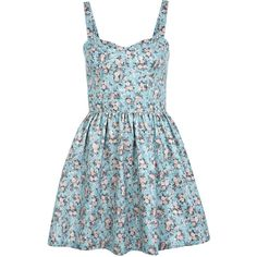 Miss Selfridge Floral Corsett Dress ($44) ❤ liked on Polyvore featuring dresses, vestidos, robes, short dresses, blue, blue mini dress, blue floral print dress, short floral dresses, short corset dresses and blue skater dress