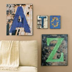 Graphically striking, these re-interpreted Letter Prints are based on original photographs. Canvas stretched over a solid wood frame gives each a substantial presence.
