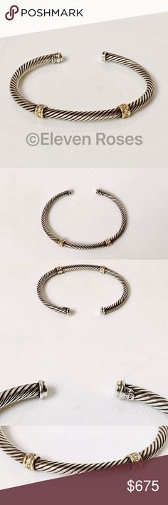 """David Yurman Two Station Diamond Cable Cuff 18k David Yurman Two Station Diamond Cable Cuff Bracelet With Gold - 925 Sterling Silver & 750 18k Yellow Gold - Measures Approx 7"""" X 4mm - Preowned / Preloved  💕 May Show Slight Signs Of Having Been Worn David Yurman Jewelry Bracelets"""