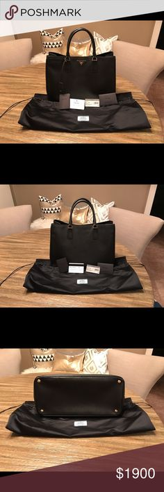 Prada Saffiano Lux Tote in Nero (Black) Prada Saffiano Lux Tote in Nero (Black) with gold hardware. Used once. Like new! Dust bag, authenticity card and tag included. Snap closure. Prada Bags