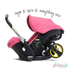 The Doona Infant Car Seat goes from car to stroller and back with a pull of the handle, and eliminates the need for a separate stroller frame. We are stocked with this gamechanging car seat and all its accessories! Choose from 7 colors (shown: Sweet Pink) - $499!   http://www.pishposhbaby.com/doona.html