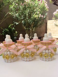 "12 small 3.5"" Little princess Baby shower favors- pink and gold princess baby shower-pink and pearl baby shower- diamonds and pearls baby sh"