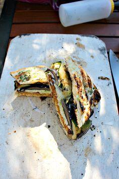 Grilled Vegetable Veggie Burger Naan-wich