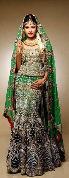 Gorgeous green mermaid (fish-cut) bridal lehenga