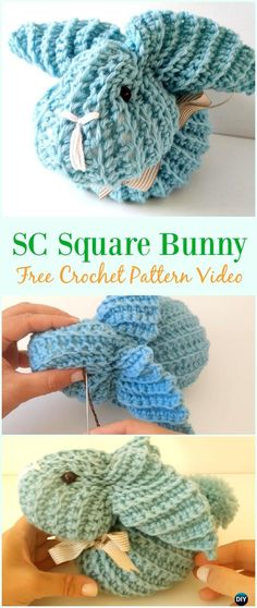 Single Crochet Square Bunny Free Pattern Video - #Crochet; Amigurumi #Bunny; Toy Softies Free Patterns