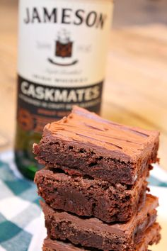 Irish Whiskey Brownies - a fudgy brownie recipe with chocolate- whiskey frosting - from RecipeGirl.com - the perfect sweet treat for St. Patrick's Day!