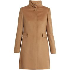 Max Mara Studio Agnese coat (55.155 RUB) ❤ liked on Polyvore featuring outerwear, coats, coats & jackets, camel wool coat, slim fit wool coat, camel coat, maxmara and maxmara coat