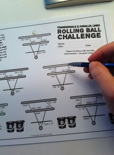 challenge activity - solving for angle measures along transversal intersecting parallel lines Teaching Geometry, Geometry Lessons, Geometry Worksheets, Geometry Activities, Math Lessons, Teaching Math, Teaching Ideas, Geometry Practice, Math Worksheets