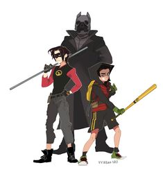Cool redesign of Batman, Red Robin & Robin.