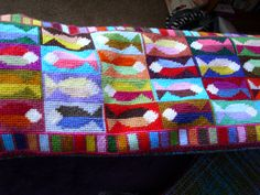 https://flic.kr/p/cS76hu   finished fish draught excluder 001   Well, I say finished.  It still needs stuffing & sewing up.  But at least the needlepoint part's done.    www.needlepointcafe.wordpress.com