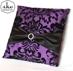 Purple & Black Damask Taffeta Ring Pillow with Black Satin Sash
