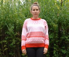 Vintage Red and White Sweater. Holiday Sweater. by blissjoybull, $28.00. Eco friendly.