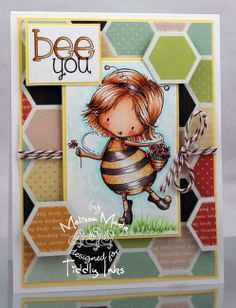 Happy Bee Day | Girly Girl Stamp | Digital Stamps by Tiddly Inks