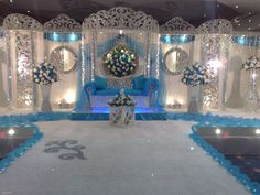 design decoration theme blue ice wedding reception
