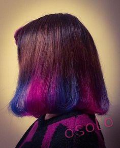 WEBSTA @ osolo.selectshop - 昨日マニパニでカラーチェンジしました今回は前髪も入れて10個のブロックに分けて交互にピンクとブルーをいれていきました#osolo#baharana#マニパニ#ヘアカラー#セルフ#チェンジ#ピンク#ブルー#自力で#カラフル#大阪#梅田#中崎