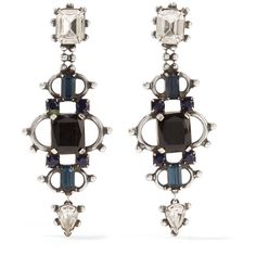 DANNIJO Gabriel oxidized silver-plated Swarovski crystal earrings (£310) ❤ liked on Polyvore featuring jewelry, earrings, accessories, black, silver plated jewelry, swarovski crystal jewelry, swarovski crystals jewelry, clear jewelry and clear crystal jewelry
