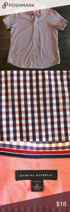 Banana Republic Short Sleeve Button Down Blue and Coral colored cross stripped button down. Like new condition! Banana Republic Shirts Casual Button Down Shirts
