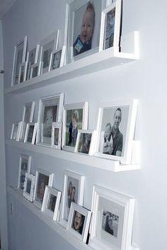 7 Refined Tips: Ikea Black Floating Shelves floating shelf plants small spaces.Floating Shelf Plants Small Spaces how to build floating shelves bathroom. Photo Shelf, Picture Shelves, Ikea Picture Ledge, Shelves For Pictures, Photo Ledge, Framed Pictures, Wall Photos, Picture Wall, Picture Frames