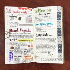 Week 42 . #plannernerd #planneraddict #planneraddictmalaysia #myplannerbabes #midori #midoritravelersnotebook #travelersnotebook #journaling #journal #journalism #brushpen #brushlettering #lettering
