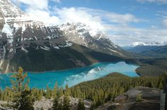 Peyto Lake, Icefield Parkway, Jasper, Canada on a sunnny morning the fresh mountain air will give you a natural high