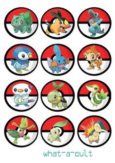 24 pokemon cake topper /cupcake/muffin - mini game - digital printable file…