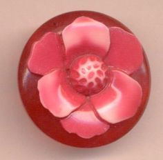 Red Vintage Celluloid Flower Button...Multi-Component