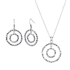 GandH Sterling Silver Geometric Earrings and Necklace Set -- Check out the image by visiting the link.