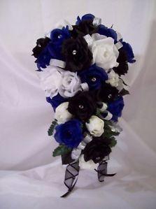 black white silver royal blue wedding   New-wedding-bouquets-24-pc-royal-blue-black-silver-white-roses-silk ...