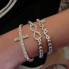 Hot Fashion Crystal Rhinestone Cross Love Infinity Stretch Beaded Bracelet Gift #Unbranded #European