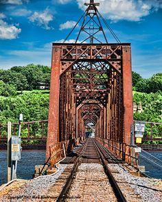 The swinging railroad bridge at Dubuque Iowa across the Mississippi River