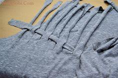 WobiSobi: Weaved Back Tank, DIY Umgestaltete Shirts, Diy Cut Shirts, T Shirt Diy, Diy Clothes Refashion, Shirt Refashion, T Shirt Weaving, T Shirt Remake, Cut Shirt Designs, Shirt Transformation
